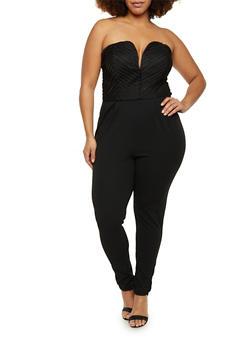 Plus Size Strapless Burnout Stripe Jumpsuit - BLACK - 8441020620856