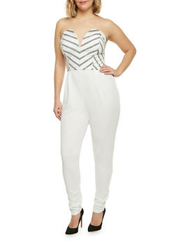 Plus Size Strapless Burnout Stripe Jumpsuit - IVORY - 8441020620856