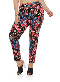 Plus Size Floral Print Dress Pants - 8441020622767