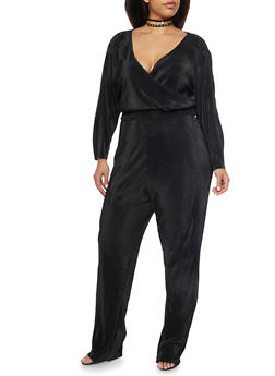 Plus Size Crinkle Jumpsuit with Wrap Front - BLACK - 8441020623098
