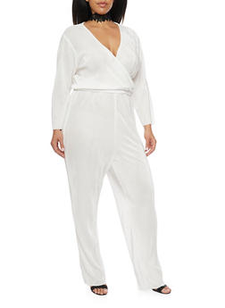 Plus Size Crinkle Jumpsuit with Wrap Front - IVORY - 8441020623098