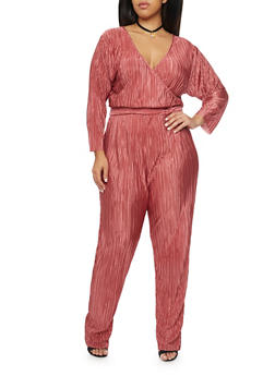 Plus Size Crinkle Jumpsuit with Wrap Front - 8441020623098