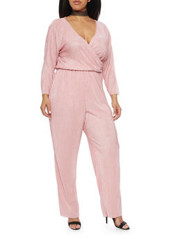 Plus Size Crinkle Jumpsuit with Wrap Front - BLUSH - 8441020623098