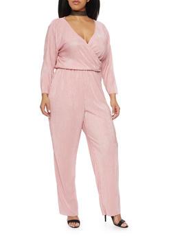 Plus Size Crinkle Wrap Jumpsuit - BLUSH - 8441020623098