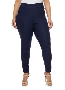 Plus Size Solid Stretch Pull On Pants - 8441020623216
