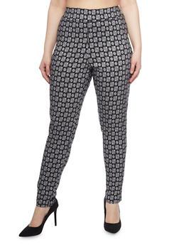 Plus Size Printed Knit Dress Pants - BLK/IVORY - 8441020623217
