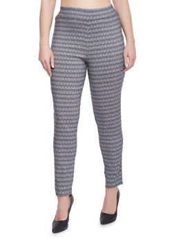 Plus Size Printed Knit Dress Pants - BLACK/WHITE - 8441020623217