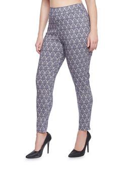 Plus Size Printed Knit Dress Pants - NAVY - 8441020623217