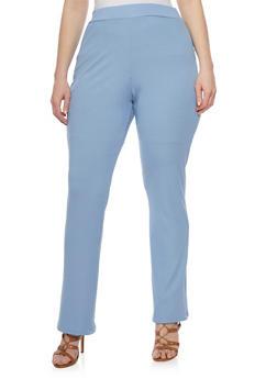 Plus Size Flared Rib Knit Pants - 8441020624237