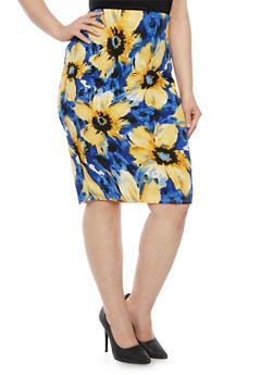 Plus Size Pencil Skirt in Floral Print - 8441020624583