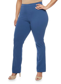 Plus Size Solid Scuba Dress Pants - 8441020624747