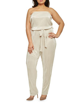 Plus Size Strapless Belted Jumpsuit in Pleated Knit - SILVER/IVORY - 8441020625282