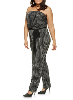 Plus Size Strapless Belted Jumpsuit in Pleated Knit - BLACK STRIPE - 8441020625282