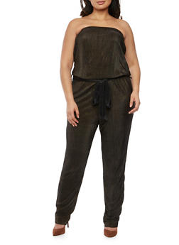 Plus Size Strapless Belted Jumpsuit in Pleated Knit - BLACK/GOLD - 8441020625282