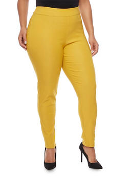 Plus Size Skinny Pants in Stretch Knit - MUSTARD - 8441020626352