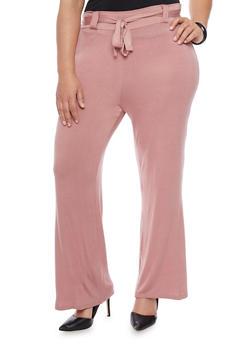 Plus Size Belted Jersey Dress Pants - 8441020626385
