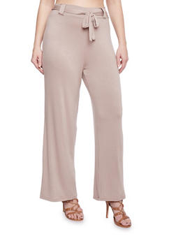 Plus Size Belted Jersey Dress Pants - 8441020626385