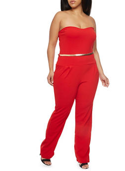 Plus Size Strapless Jumpsuit with Belt - RED - 8441020626388