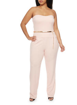 Plus Size Strapless Jumpsuit with Belt - ROSE - 8441020626388