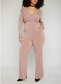 Plus Size Faux Wrap Jumpsuit with Plunging Caged Back - 8441020626482