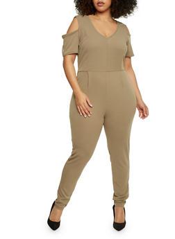 Plus Size Cold Shoulder Jumpsuit with Back Slit - KHAKI - 8441020626634