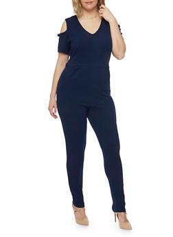 Plus Size Cold Shoulder Jumpsuit with Back Slit - NAVY - 8441020626634