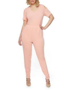 Plus Size Cold Shoulder Jumpsuit with Back Slit - ROSE - 8441020626634