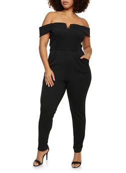 Plus Size Off the Shoulder Jumpsuit - 8441020627556