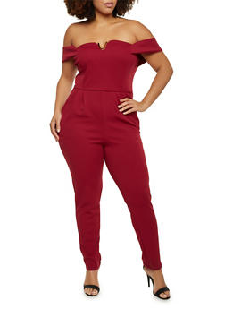 Plus Size Off the Shoulder Jumpsuit - 8441020627556