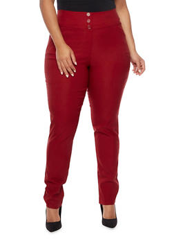 Plus Size High Waisted Stretch Knit Pants - 8441020627666