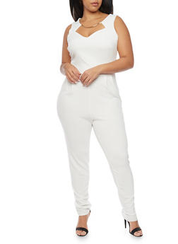 Plus Size Jumpsuit with Faux Collar Necklace - IVORY - 8441020627856
