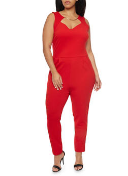 Plus Size Jumpsuit with Faux Collar Necklace - RED - 8441020627856