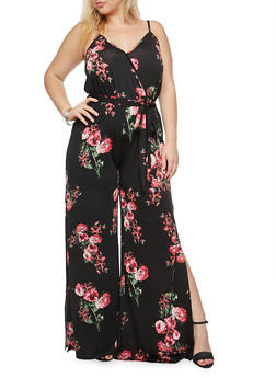 Plus Size Floral Faux Wrap Jumpsuit - 8441054265242