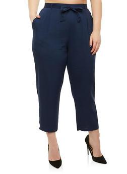 Plus Size Tie Waist Pants - 8441054265911