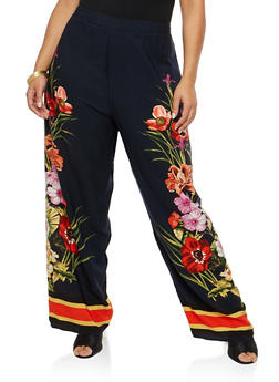 Plus Size Floral Palazzo Pants - 8441056129463