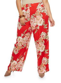 Plus Size Floral Palazzo Pants - 8441056129464