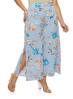 Plus Size Striped Floral Cropped Slit Leg Palazzo Pants - 8441056129466