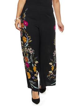 Plus Size Floral Crepe Knit Palazzo Pants - 8441056129468
