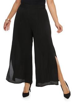 Plus Size Crepe Knit Slit Leg Palazzo Pants - 8441056129469