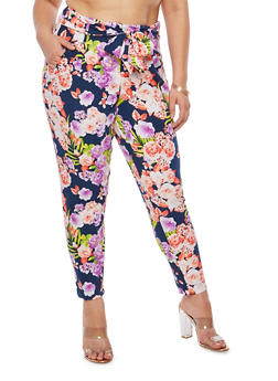 Plus Size Floral Print Dress Pants - 8441056571114