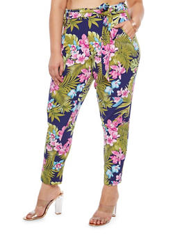 Plus Size Floral Print Tie Waist Pants - 8441056571115
