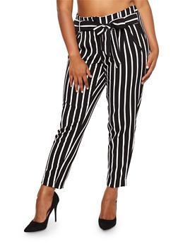 Plus Size Striped Tie Waist Pants - 8441056571212