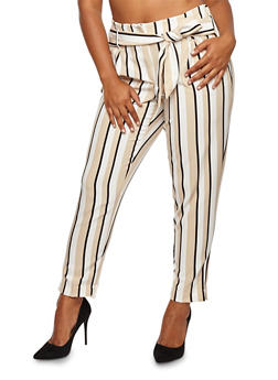 Plus Size Tri Tone Striped Pants - 8441056572212