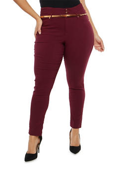 Plus Size Belted Stretch Skinny Pants - 8441056572262