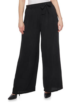 Plus Size Solid Tie Waist Crepe Pants - 8441062701634