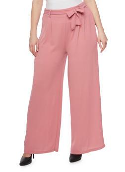 Plus Size Solid Tie Waist Crepe Pants - 8441062701634