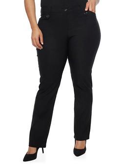 Plus Size Arrow Tabbed Dress Pants - 8441062701755
