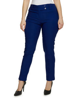 Plus Size Solid Skinny Dress Pants - 8441062701758