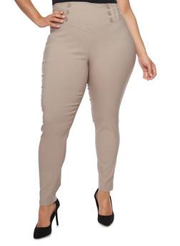 Plus Size Solid Sailor Dress Pants - 8441062703740