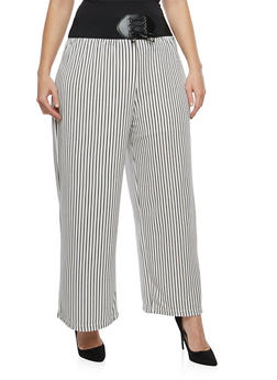 Plus Size Striped Crepe Palazzo Pants - 8441062705700